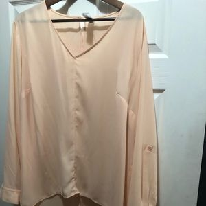 High low long sleeve split back blouse